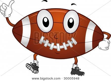 Illustration of a Football Giving a Thumbs Up