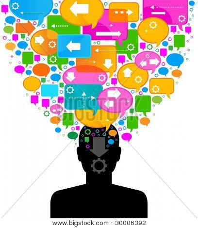 silhouette of a human head with emanating from it bubbles speech