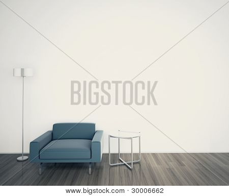 Minimal interior with single armchair