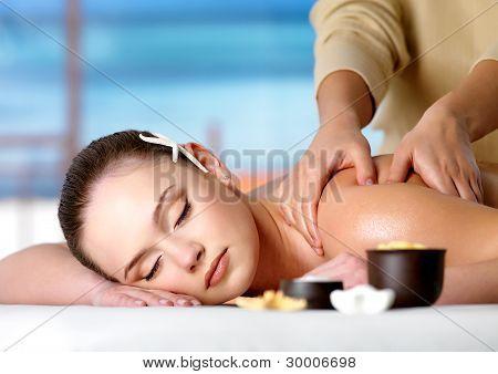 Spa Massage For Shoulder Of Woman