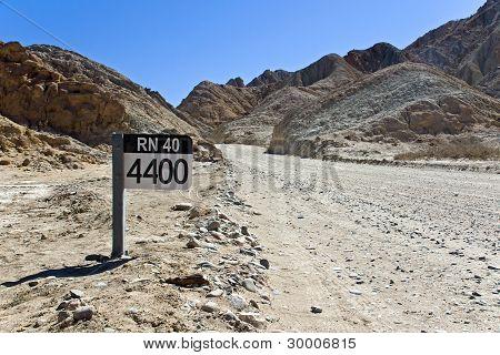Street sign Ruta 40 in Argentina