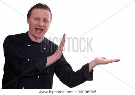 Funny Cook Is Laughing And Is Holding His Hands Beside