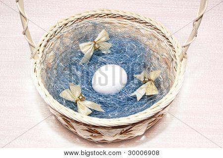 White Egg In A Wicker Basket