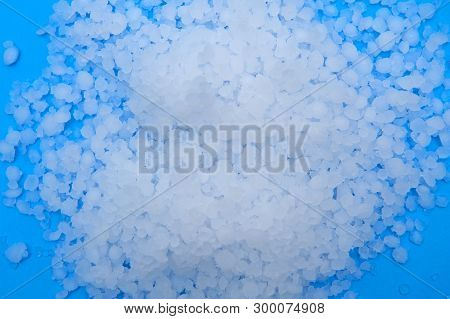 Close Up Of Hail On The Blue Background