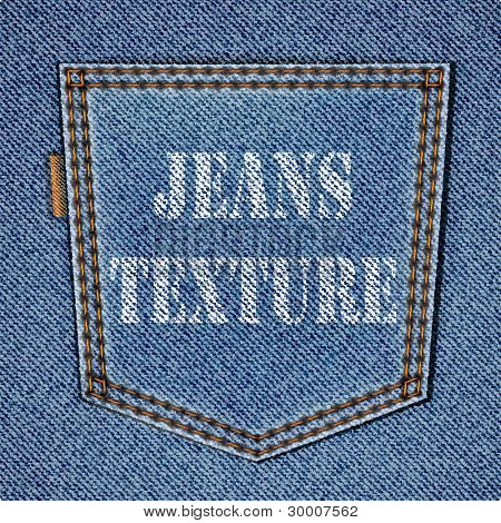 Back jeans pocket on realistic jeans texture. Vector eps10 background