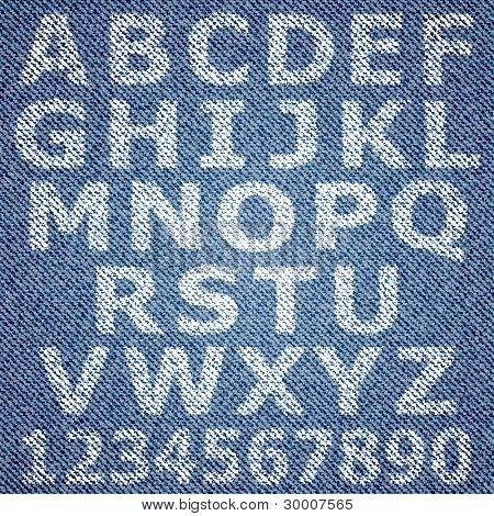 Jeans alphabet. Vector eps10 background