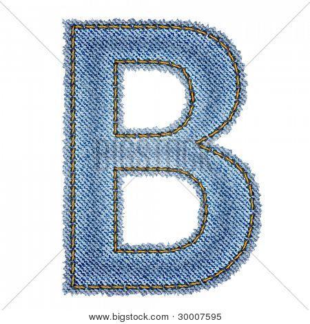 Jeans alphabet. Letter B. Vector eps10 background