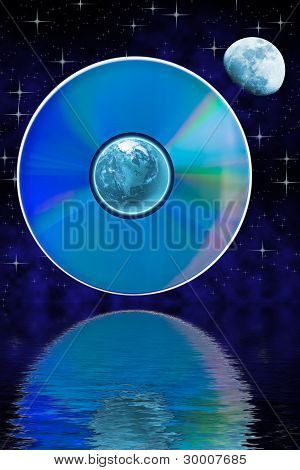 Abstract Landscape With Earth And Compact Disk