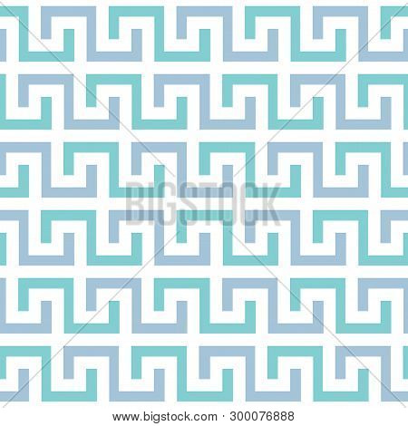 Seamless Pattern In The Greek Style, Meander Motif, Greek Key Ethnic Seamless Print With Meander For