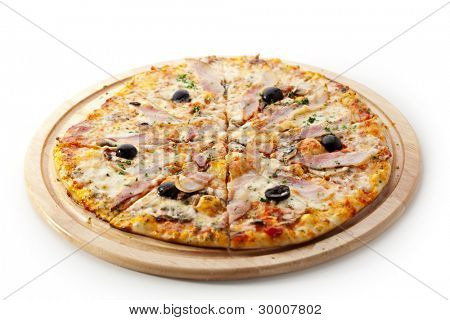 Pizza with Various Type of Meat and Black Olives