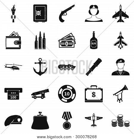 Militant Icons Set. Simple Set Of 25 Militant Icons For Web Isolated On White Background