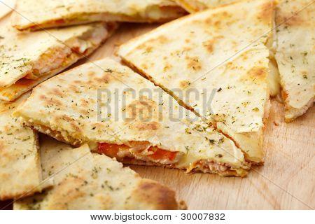 Italian Closed Pizza. Closeup View