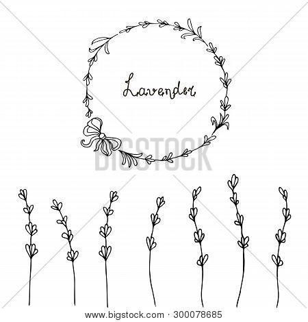 Lavender Banner. Hand Drawn Monochrome Stylised Sketch Design Element Stock Vector Illustration For