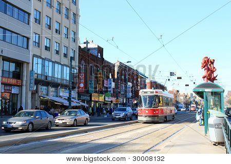 Toronto Chinatown And Streetcar