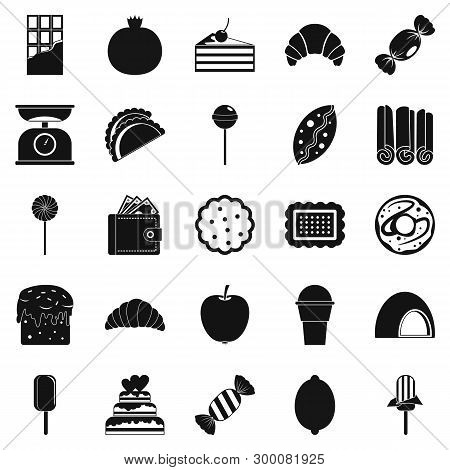 Ice Cream Parlor Icons Set. Simple Set Of 25 Ice Cream Parlor Icons For Web Isolated On White Backgr