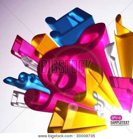 Colorful 3D Vector Melody Signs
