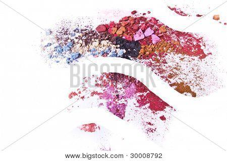 crushed eyeshadow on white background