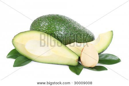 The fresh avocado isolated on white background