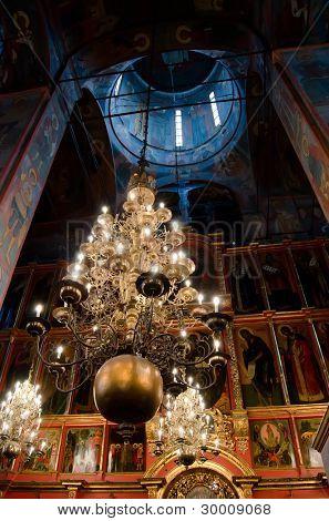 Interior of orthodox church at Moscow Kremlin