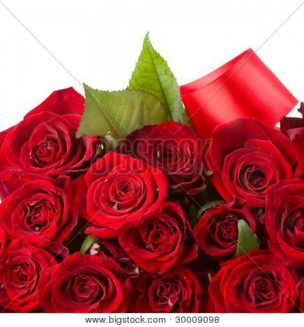 Red Roses Bouquet border. Flowers