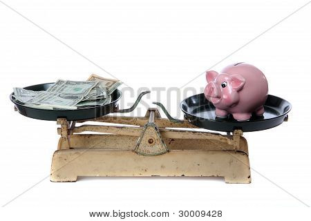 Piggy Bank And Dollars On Scale