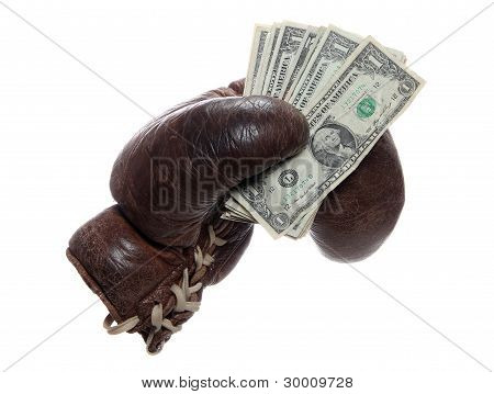 Old Brown Boxing Glove With Dollars