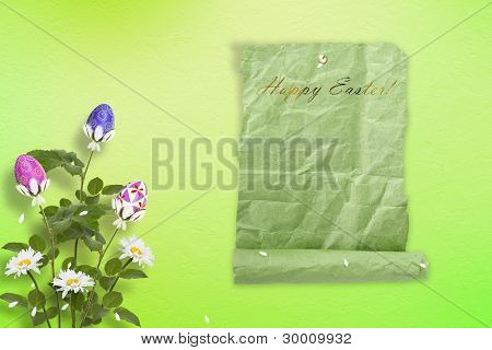 Pastel Background With Multicolored Eggs And Flowers To Celebrate Easter