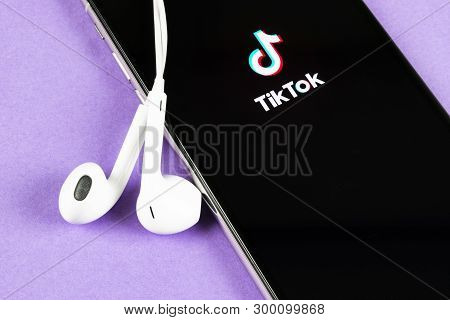Helsinki, Finland,  May 4, 2019: Tik Tok Application Icon On Apple Iphone X Screen Close-up. Tik Tok