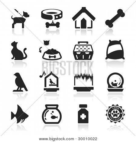 Pets icons set Elegant series
