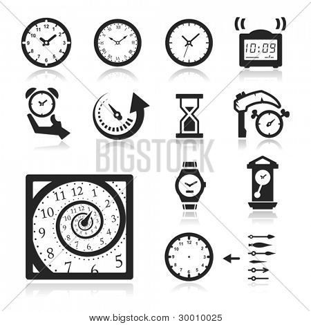 Clocks Icons set elegant series