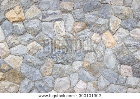Background Texture Of Medieval Natural Stone Wall Textured Background.