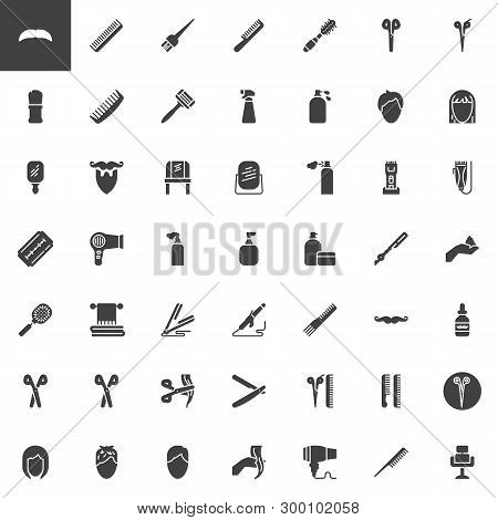 Barber Shop Vector Icons Set, Modern Solid Symbol Collection, Filled Style Pictogram Pack. Signs Log