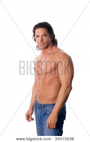 handsome muscular shirtless man in jeans