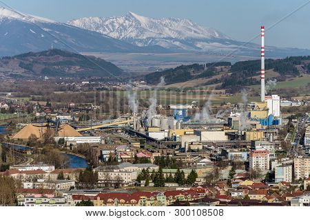 Ruzomberok, Slovakia - March 27: Factory Mondi At Town And Hill Krivan On March 27, 2019 In Ruzomber