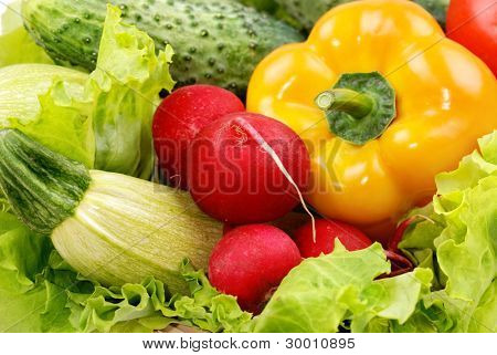 vegetables and greens as background