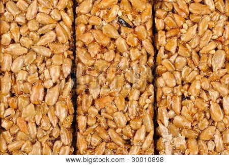 Honey bars with sunflower seeds isolated