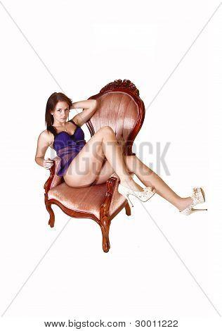 Beautiful Girl In Armchair.