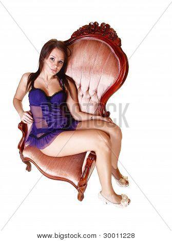 Relaxing Girl In Armchair.