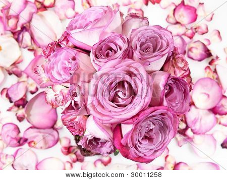 Pink rose bouquet on rose petals background