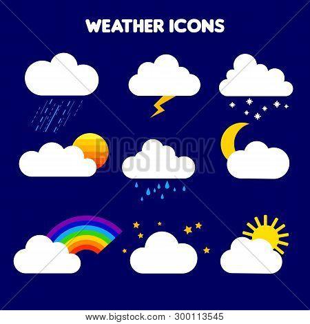 Illustration Of Weather. Rain, Storm, Lightning, Snow, Sky With Stars, Rainbow, Cloudy, Sunset, Moon