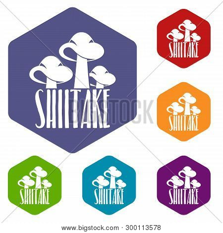 Shiitake Icons Vector Colorful Hexahedron Set Collection Isolated On White