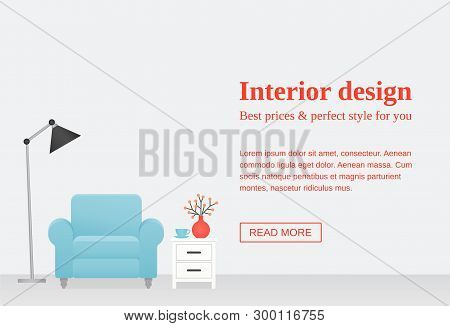 Living room interior. Vector Room with blue armchair, white dresser, lamp on empty wall with place for text. Template banner. Flat furniture. Cartoon illustration. Modern background Lounge home design poster