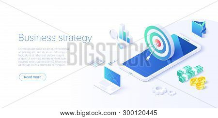 Business Strategy Isometric Vector Illustration. Data Analytics For Company Marketing Solutions Or F