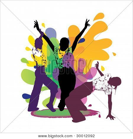 Dancing silhouettes on colored background