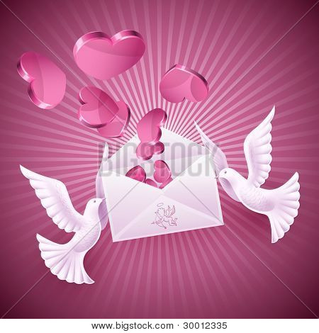 Pigeons love holding the envelope with the message. Background on Valentine's Day
