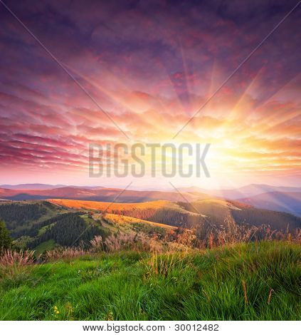 Landscape in the mountains with sunset. Ukraine, the Carpathian mountains
