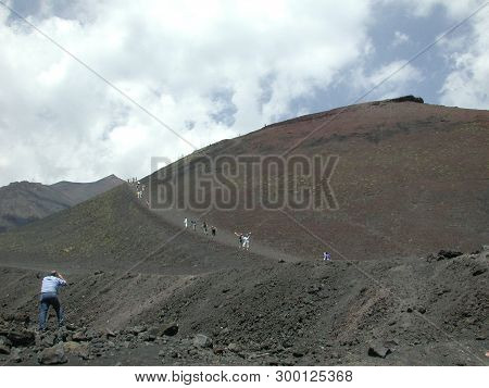 Mt. Etna, Sicily - Tourists Climb To The Summit!