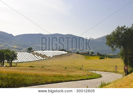 Landscape In Marches With Solar Panels