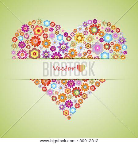 Flower heart design, vector