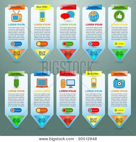 web elements with showing product for sale, vector